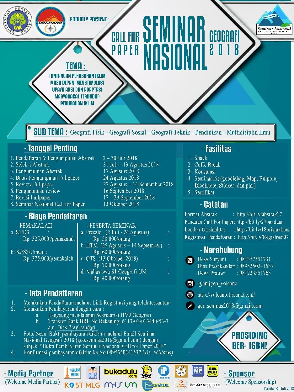 Call for Paper Seminar Nasional Geografi 2018